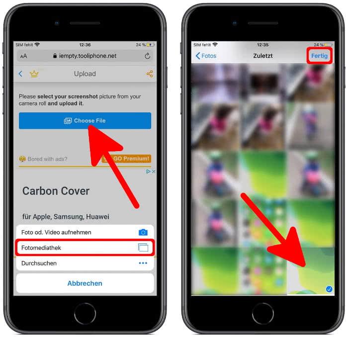 Screenshot hochladen in iEmpty