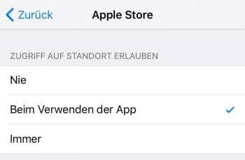 Ortungsdienste für jede App einstellen