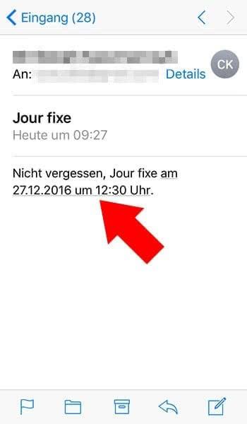 Kalender-Eintrag mit E-Mail verknüpfen am iPhone