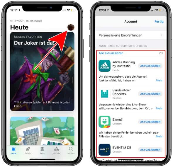 Im App Store auf das Profilbild, um zu den App-Updates zu gelangen