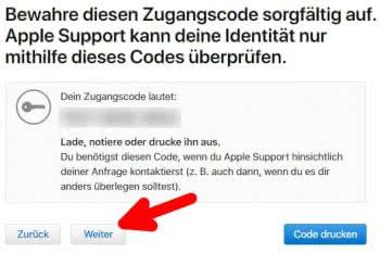 Zugangscode für den Antrag auf Apple-ID Löschung