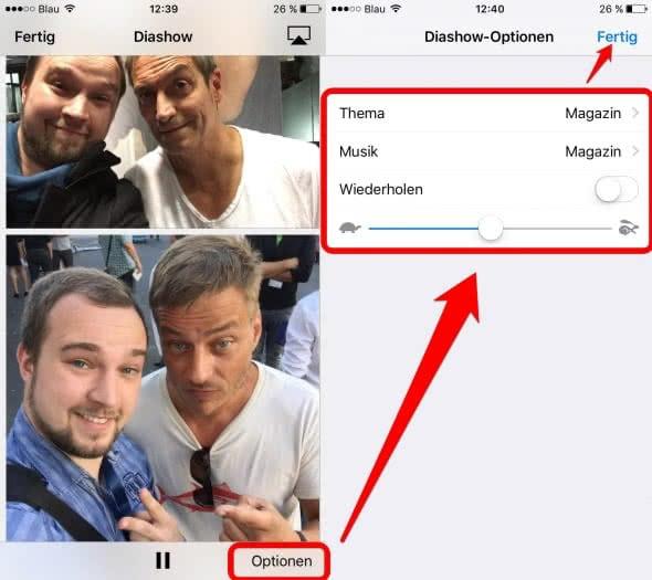 Diashow Einstellungen am iPhone
