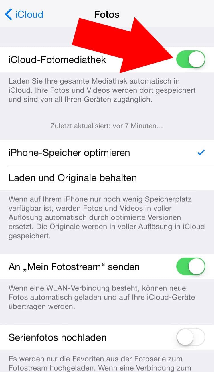icloud fotomediathek von iphone löschen