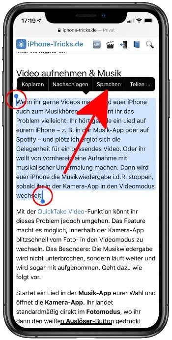 Markierten Text am iPhone vorlesen lassen