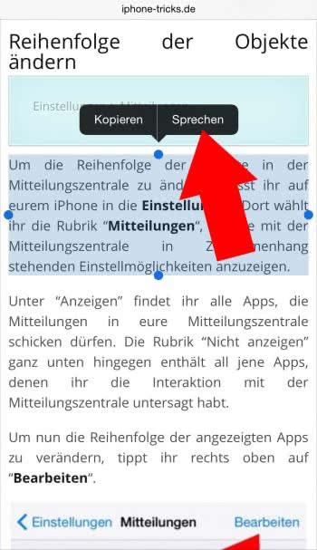 iPhone Text vorlesen lassen
