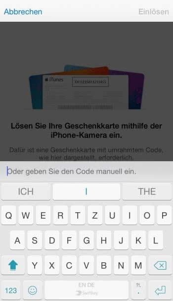iTunes Gutschein Karten einlösen