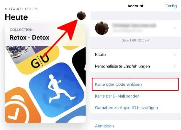 iTunes Karte einlösen im App Store auf dem iPhone