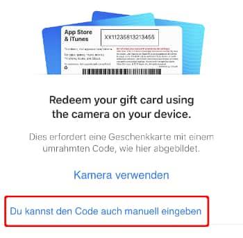 iTunes Karte manuell einlösen auf dem iPhone