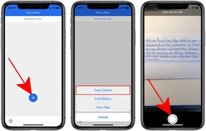 Handschriftlichen Text scannen in der Pen to Print-App