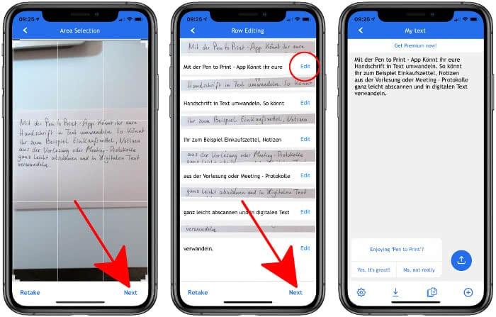 Text bearbeiten in der Pen to Print-App