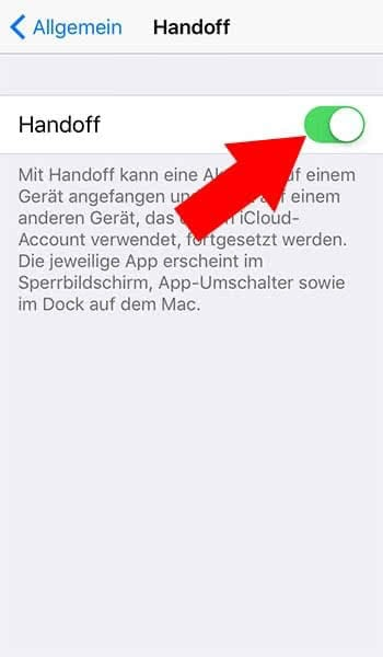 iPhone Handoff aktivieren