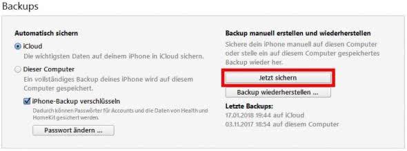 iPhone Backup erstellen in iTunes