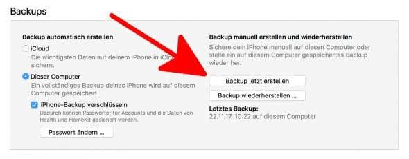 iPhone Backup erstellen