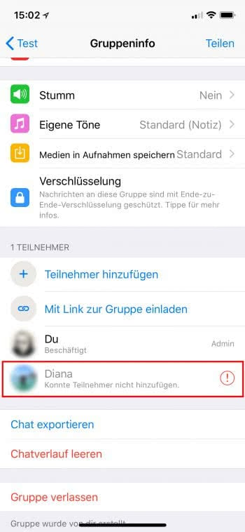WhatsApp Gruppe als Blockier-Test