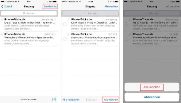 iPhone alle Emails löschen auf einmal