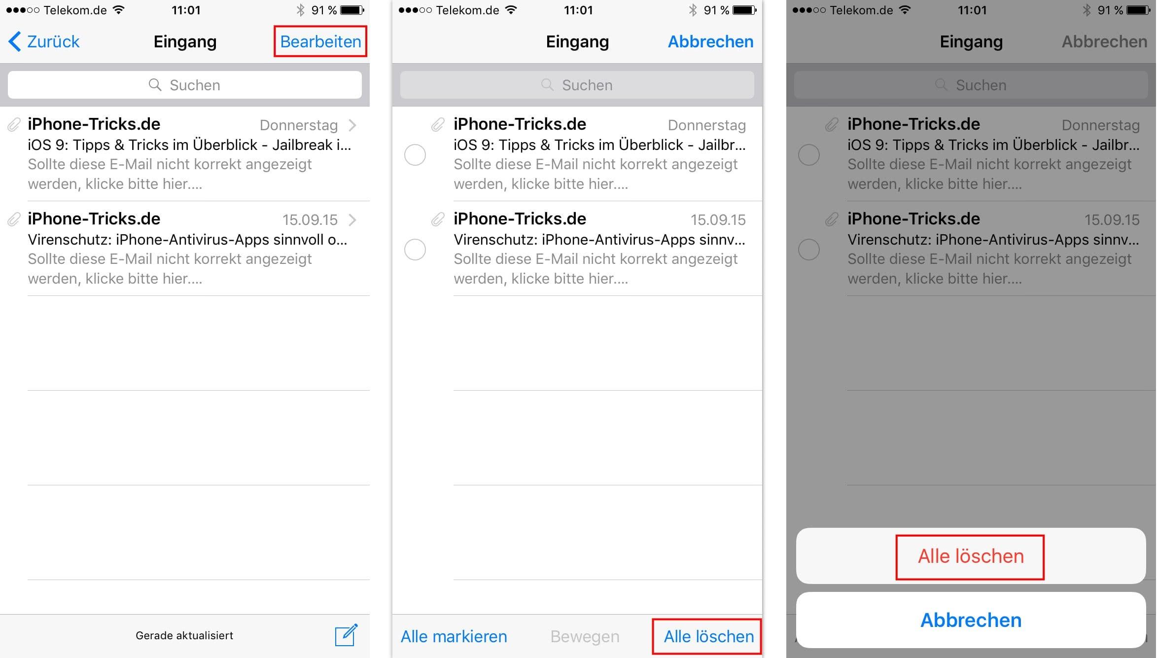 iphone email löschen in papierkorb