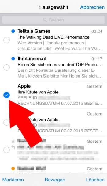 Iphone Mehrere Mails Löschen