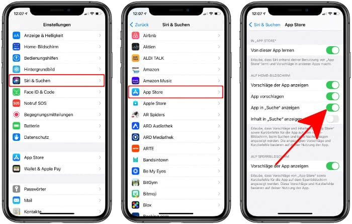 """""""App in Suche anzeigen"""" aktivieren für App Store"""