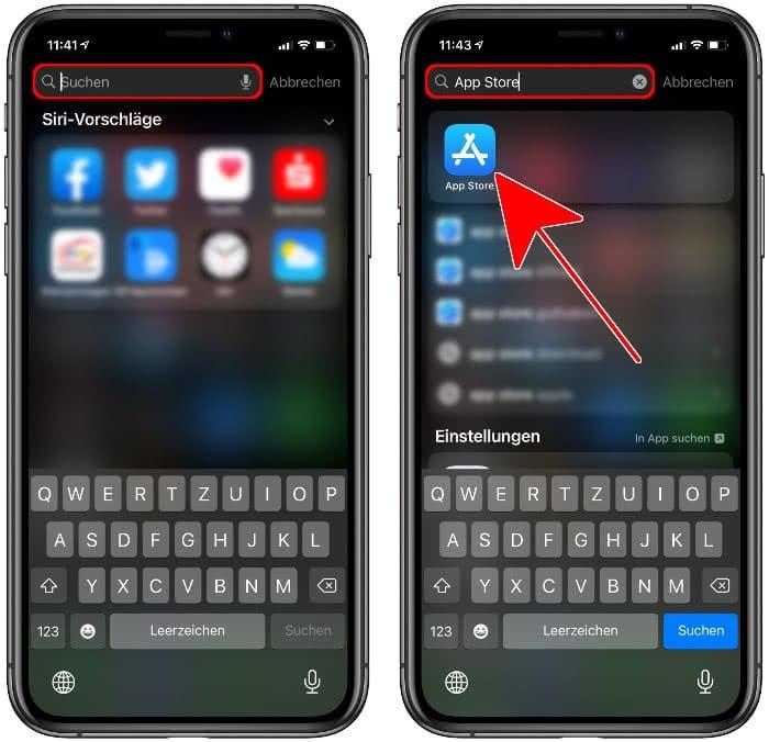 App Store in Spotlight suchen