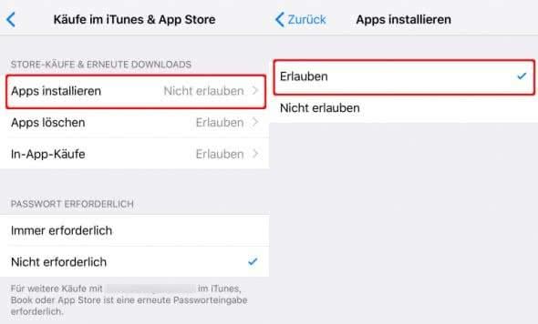 Beschränkung für das Installieren von Apps deaktivieren