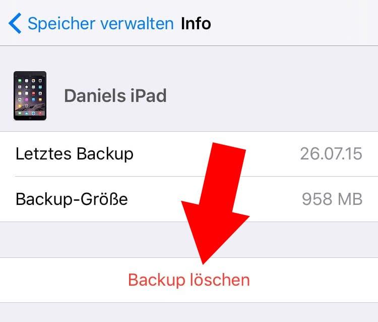 mac alte iphone backups löschen