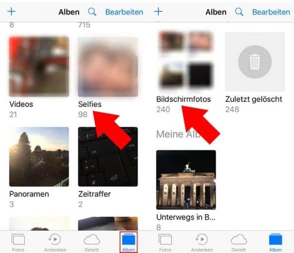 Selfie-Fotoalbum und Screenshot-Fotoalbum auf dem iPhone