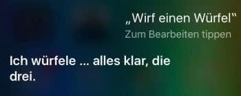 Siri einen Würfel werfen lassen