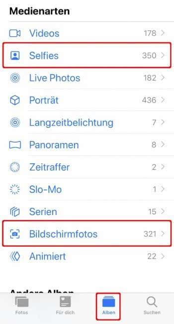 """In der Fotos-App auf """"Album"""" tippen, runter scrollen und """"Selfies"""" und """"Bildschirmfotos"""" wählen"""