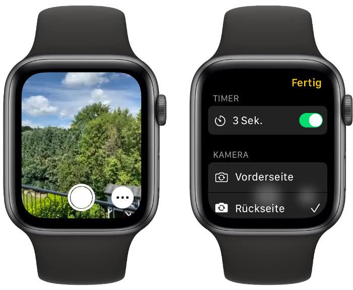 Auslöser auf Apple Watch drücken