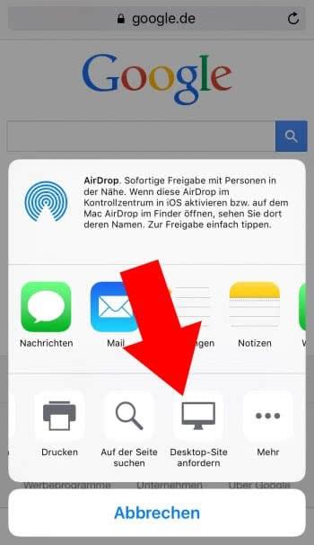Desktop-Seite anfordern in Safari