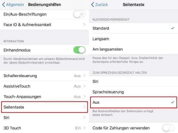 """Unter """"Bedienungshilfen"""" auf """"Seitentaste"""" drücken und """"Aus"""" wählen"""