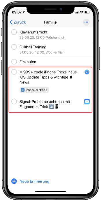 Siri-Erinnerungen anzeigen in der Erinnerungen-App