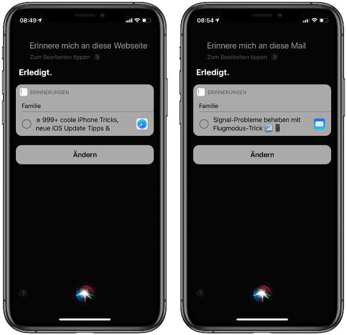 Erinnerungen erstellen mit Siri