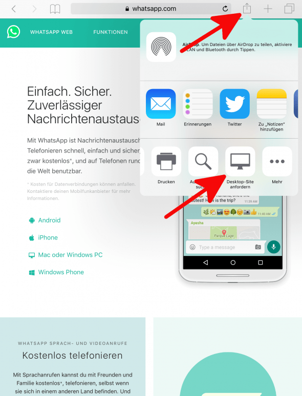 WhatsApp Web iPad 1