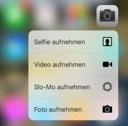 3D Touch Tipps - Kamera App Schnellauswahlmenü