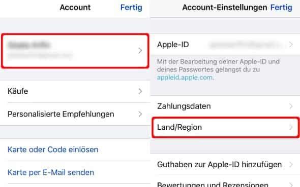 Account-Einstellungen auf dem iPhone