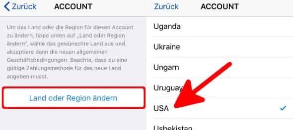 Land oder Region für Apple-ID Account ändern