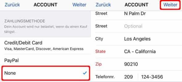 Zahlungsmethode und Rechnungsadresse angeben in Apple-ID Account-Einstellungen