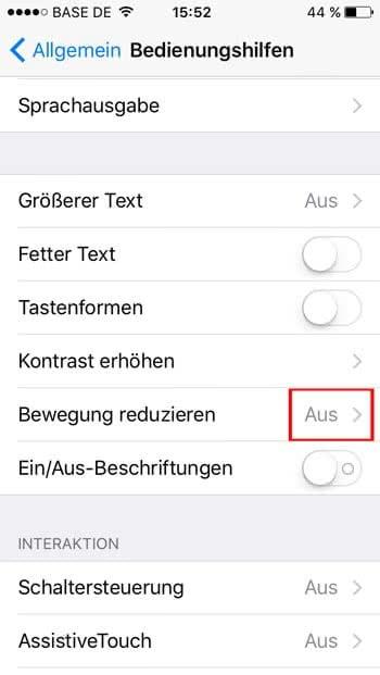 iOS 9 - iPhone schneller machen durch Bewegung reduzieren