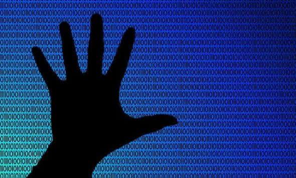 Binärer Code und Hand