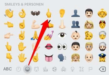Mittelfinger Smiley am iPhone