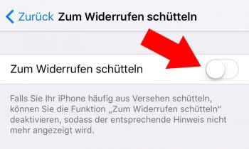 """""""Zum Widerrufen schütteln"""" deaktivieren"""