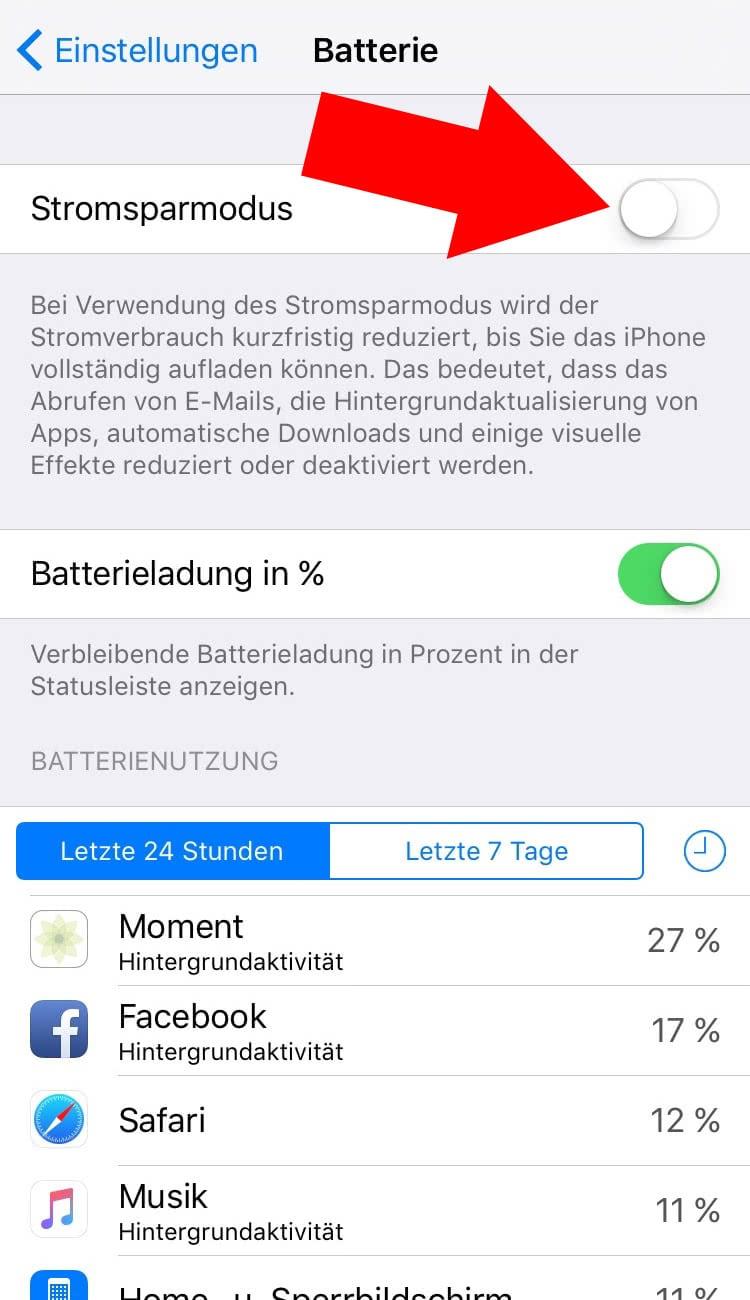 Stromsparmodus Iphone