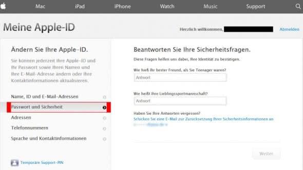 Apple-ID Passwort ändern