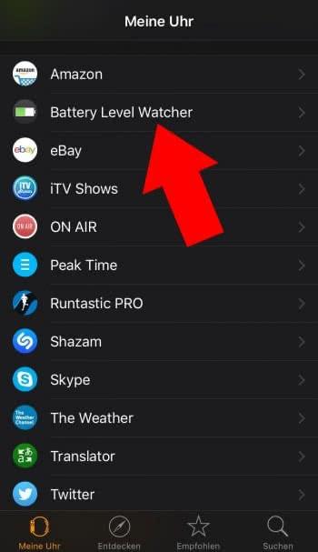 """""""Battery Watcher"""" auf Apple Watch installieren"""