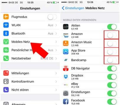"""iPhone Datenverbrauch reduzieren - """"Mobile Daten verwenden"""" deaktivieren"""