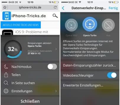 iPhone Datenverbrauch reduzieren mit der Opera Mini App