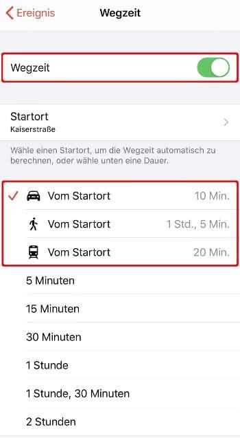 """""""Wegzeit"""" Option aktivieren in der Kalender-App"""