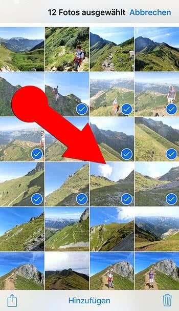iPhone mehrere Fotos markieren
