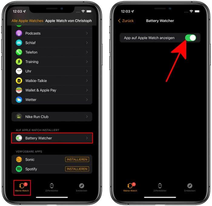 Battery Watcher in der Watch-App auf dem iPhone